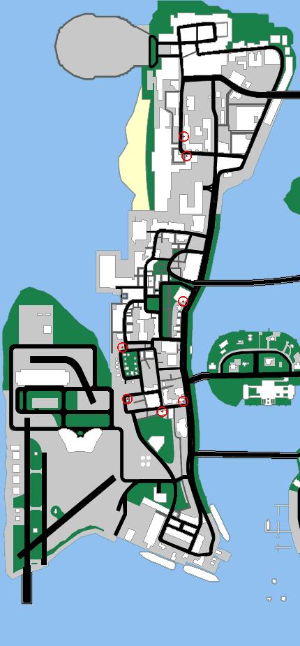 Map of vice city location of the stores you can rob