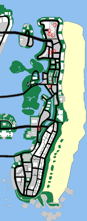 Map of vice city location of stores you can rob