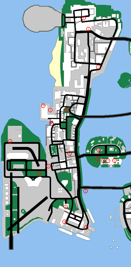 Map of vice city location of weapons